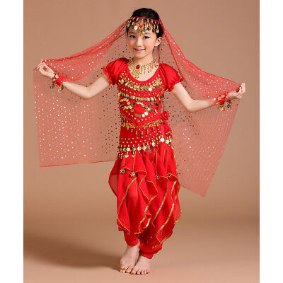 Children Girls Kids Belly Dance Costume Outfit Bollywood Halloween