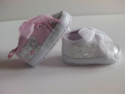 Baby Girl Pre-Walker soft cotton pump with glitter Teddy side applique & toe tip