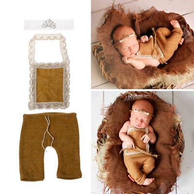 Baby Boy Girls Crochet Headband Pants Photography Props Outfits Newborn Costume