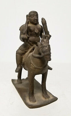 Antique Vintage Cast Bronze Indian Figure on Horseback Statue Warrior