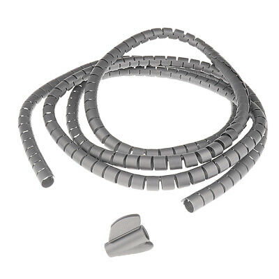 Silver 2m /10mm PE Plastic Spiral Cable Wrap Winder Organizer Stowing Tool