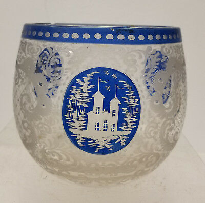 Antique Bohemian Etched Art Glass Blue Clear Vase Bowl German Austrian Czech