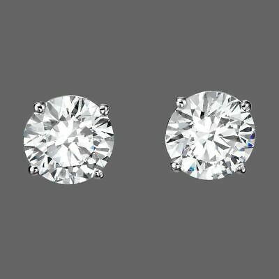 2.00 Ct Round Earrings 14K Solid White Gold Basket Studs Brilliant Push-Back
