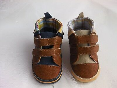 Baby Boy Pre-Walker soft sole high riser canvas pump, leather look toe tip strap