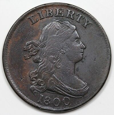 1800 Draped Bust Half Cent, VF-XF detail
