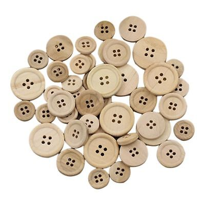 50 Pcs Mixed Wooden Buttons Natural Color Round 4-Holes Sewing Scrapbooking L4Y9