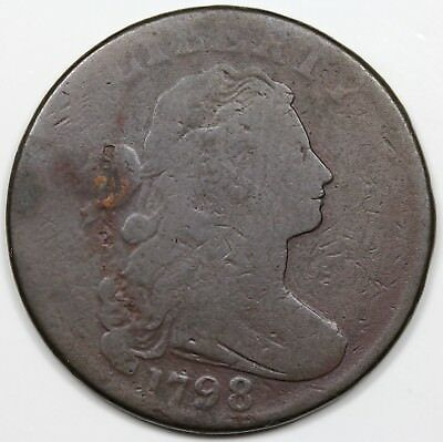 1798 Draped Bust Large Cent, Style 2 Hair, G-VG detail