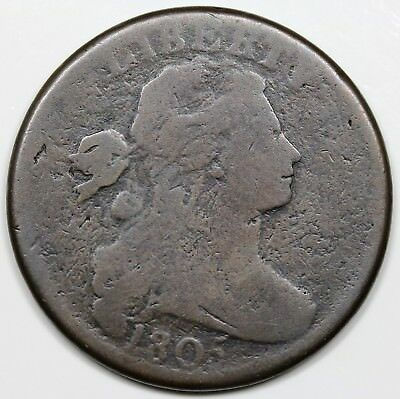 1805 Draped Bust Large Cent, Blunt 1, G+ detail