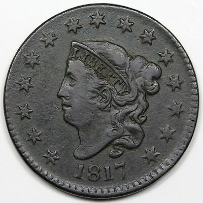 1817 Coronet Head Large Cent, 15 Stars, VF-XF detail