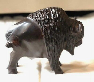 """IRONWOOD Hand Carved BUFFALO BISON Statue Sculpture Animal Wood 7.5"""" x 5.5"""""""