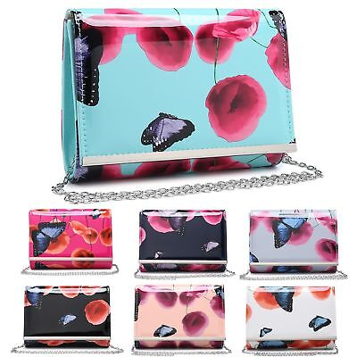 Ladies Patent Floral Butterfly Clutch Bag Poppy Evening Handbag Purse MA35017
