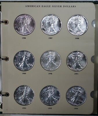 1986-2019 Uncirculated American Eagle Silver Dollar Collection, Littleton Album