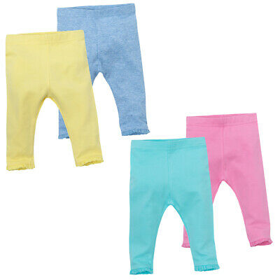 Baby Girls Newborn Leggings Multipack Cotton Rich Lace Frill Bright Colours