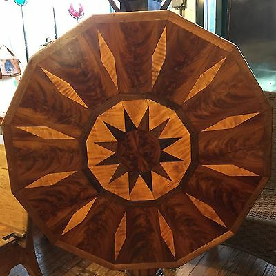 Antique 12 Sided Mahogany, Rosewood, Walnut  Parquetry Tilt Top Table