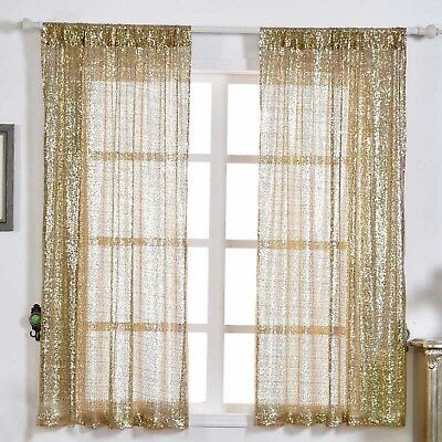 """2 pcs Champagne 52"""" x 64"""" Sequined Window CURTAINS Drapes Panels Backdrop Home"""