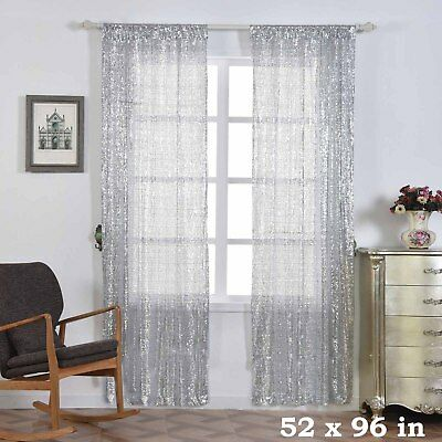 """2 pcs Silver 52"""" x 96"""" Sequined Window CURTAINS Drapes Panels Backdrop Home"""