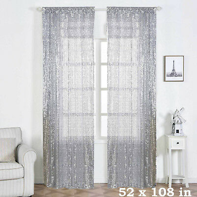 """2 pcs Silver 52"""" x 108"""" Sequined Window CURTAINS Drapes Panels Backdrop Home"""