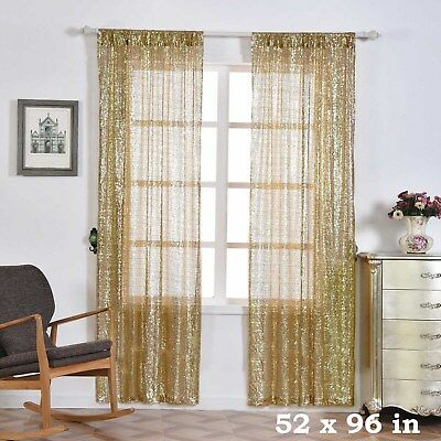 """2 pcs Champagne 52"""" x 96"""" Sequined Window CURTAINS Drapes Panels Backdrop Home"""