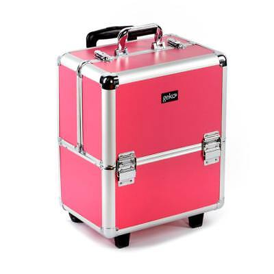 Premium Professional Beautician Pink Silver Makeup Hairdresser Rolling Trolley