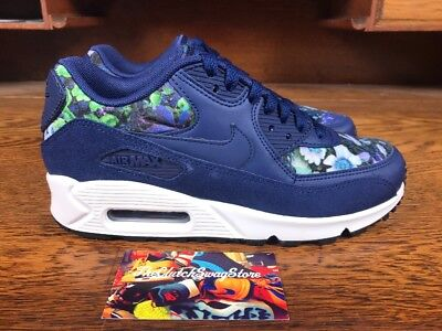 b7c095a9ceb7 Nike Air Max 90 SE NEW Womens Running Shoes Blue Floral 881105-400 Multi  Size