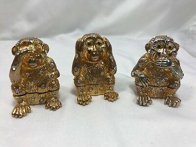 Monkey See No Evil Hear No Evil Speak No Evil Trinket Shiny Yellow Silver Metal