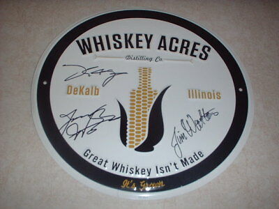 Whiskey Acres Distilling Co Autographed Bar Wall Sign Dekalb IL Founding Farmers