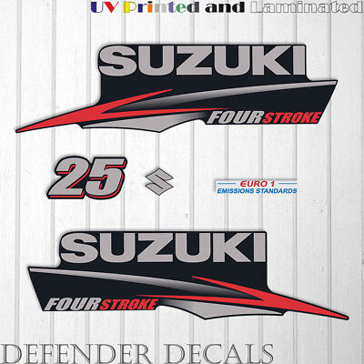 Suzuki 25HP Four Stroke outboard engine decal sticker set kit reproduction 25 HP