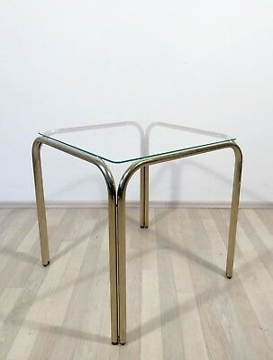 VINTAGE 1970s MODERNIST ITALIAN BRASS AND GLASS COFFEE SIDE TABLE PEDESTAL