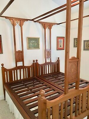 """Antique Victorian Colonial Teak Indian Twin Canopy Bed Pair, 3'-4"""" by 6'-5"""" each"""
