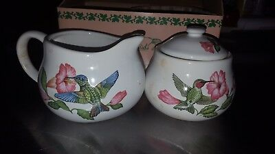Vintage Ceramic sugar and creamer containers humingbird motif