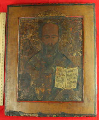 Antique OLD Russian Orthodox Hand Painted Wood Icon Saint Nicholas Wonderworker
