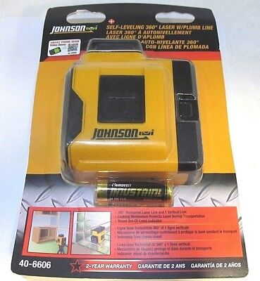 NEW Johnson 40-6606 Self-Leveling 360-Degree Laser Level With Plumb Line