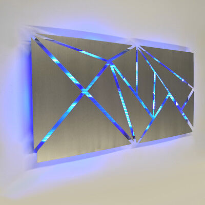 Modern Large Geometric Abstract Metal Wall Art LED Decor Painting - Brian Jones