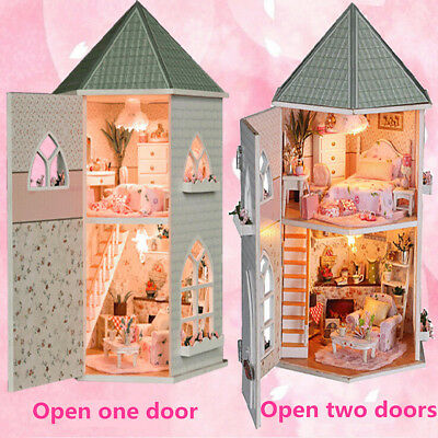 Childrens wooden dolls House & Furniture For Barbie complete with accessories
