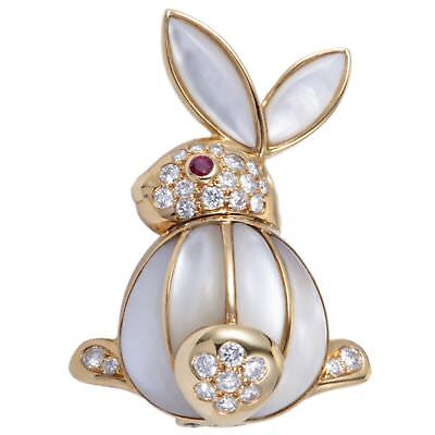 Van Cleef & Arpels 18K Yellow Gold Diamond Pave Ruby and Mother of Pearl Rabb...
