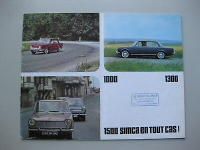 Simca 1000 Coupe 1300 1500 brochure Prospekt langue française 1963 12 pages