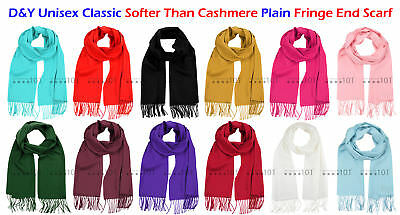 b72b24c40ce99 D&Y Unisex Classic Softer Than Cashmere® Plain Solid Fringe End Scarf
