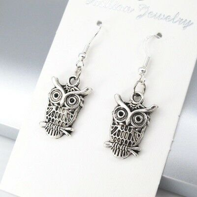 925 Sterling Hooks Vintage Silver Alloy Wizard Of Owl Bird Animals Earrings