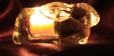 Rabbit / Bunny Crystal Clear Glass Votive / Tea Light Candle Holder