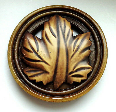 "XLG AWESOME VINTAGE CELLULOID LEAF BUTTON    1 & 5/8"" wide"