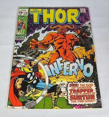"""1970 Marvel Comic """" The Mighty Thor """" #176 Stan Lee & J.buscema/ Higher Grade"""
