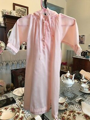 Vintage Hooded Drawstring Nightgown with Lace trim Layette sz Newborn