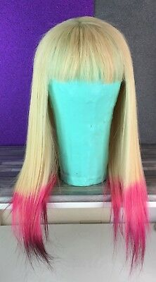 Human Hair  Blonde Lace Front Wig Pink Tips