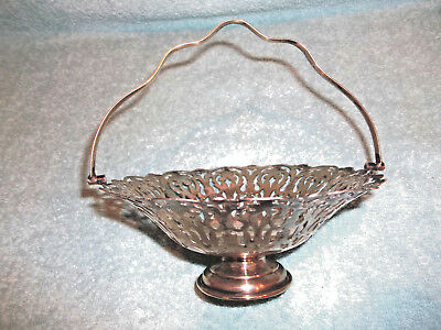 Silver Epns Cut-Out Design Metal Basket with Handle - England