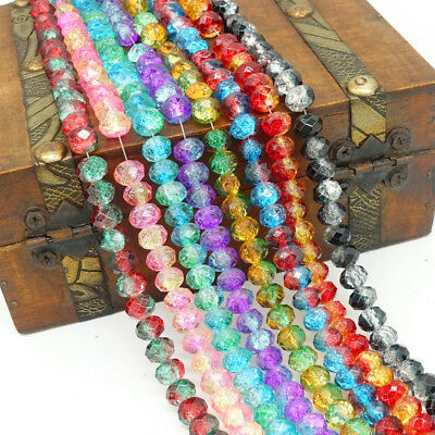 2018 new Flor 40pcs Rondelle Faceted Crystal Glass Loose Spacer Beads 8mm DIY