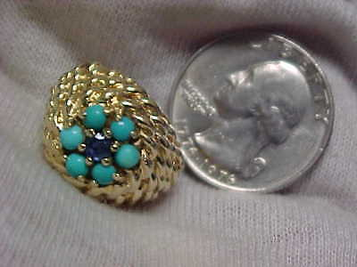 14k SCRAP GOLD 10.5 grams, Lady's Sapphire w/Turquoise Ring, NO RESERVE AUCTION
