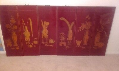 Vintage Quality Chinese red Lacquered gold Decorative wood  Panels circa 1970s