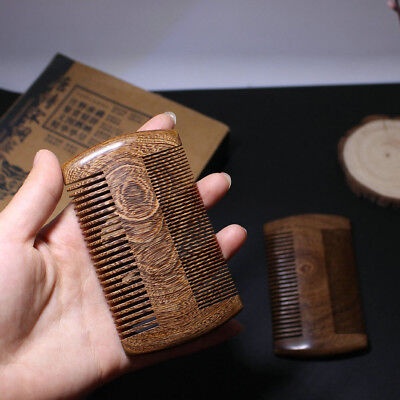 Green Sandalwood Pocket Beard Hair Combs 2 Sizes Handmade Natural Wood Comb 1pc