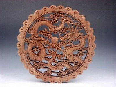 Camphor Wood Furious Double Dragons Pearl Ball Carved LARGE Hanging Panel