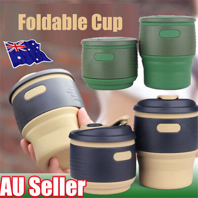 Collapsible Silicone Coffee Cup Mug Reusable Travel Foldable Leak Proof 350ML yy